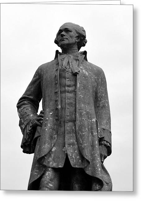 Statue Portrait Greeting Cards - Alexander Hamilton Monument B n W Greeting Card by Richard Andrews