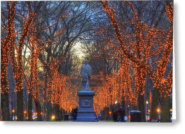 New England Snow Scene Greeting Cards - Alexander Hamilton on the Commonwealth Greeting Card by Joann Vitali