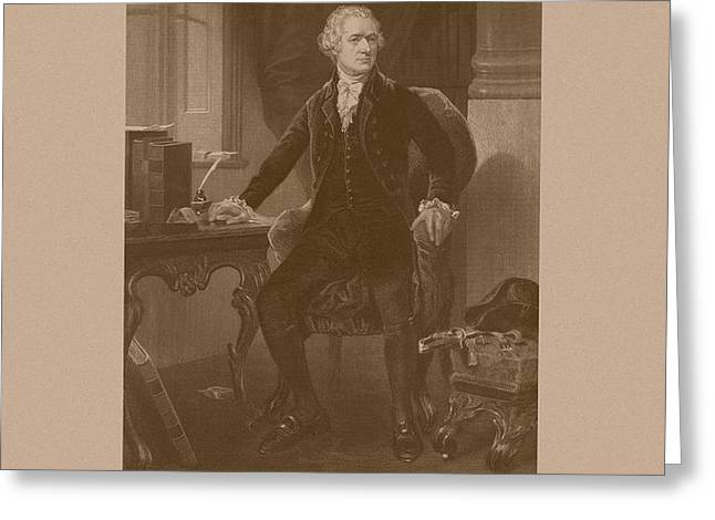 Alexander Hamilton Sitting At His Desk Greeting Card by War Is Hell Store