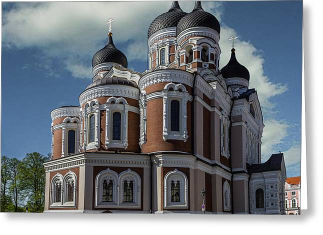 Tallinn Mixed Media Greeting Cards - Alexander Nevsky Cathedral Greeting Card by Capt Gerry Hare