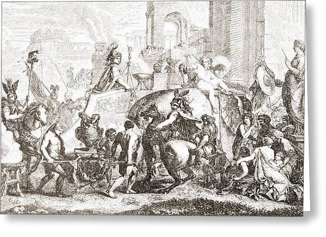 Alexander The Great Enters Babylon In Greeting Card by Vintage Design Pics