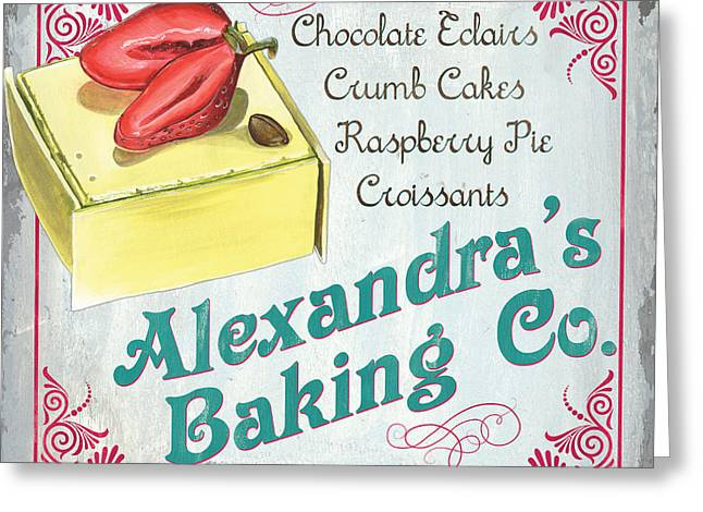 Groceries Greeting Cards - Alexandras Baking Company Greeting Card by Debbie DeWitt