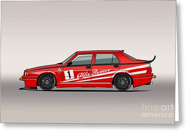 Alfa Romeo 75 Tipo 161 Works Corse Competizione Rosso Greeting Card by Monkey Crisis On Mars