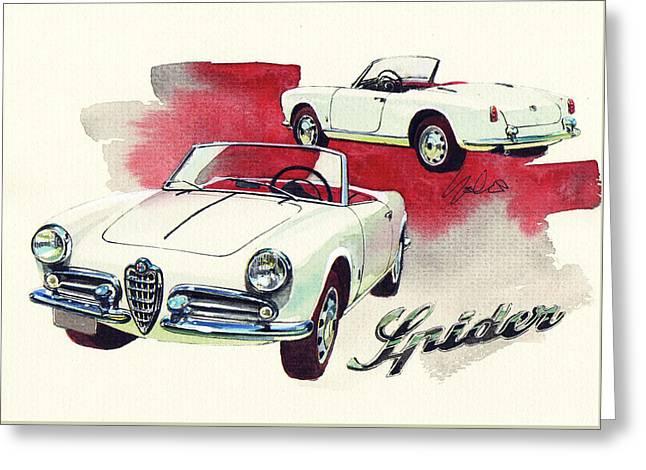Alfa Romeo Giulietta Spider Greeting Card by Yoshiharu Miyakawa
