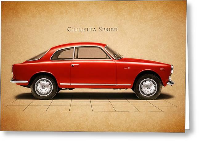 Sprint Greeting Cards - Alfa Romeo Giulietta Sprint Greeting Card by Mark Rogan