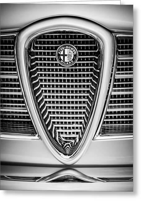 Famous Photographer Greeting Cards - Alfa Romeo Grille Emblem -0635bw Greeting Card by Jill Reger