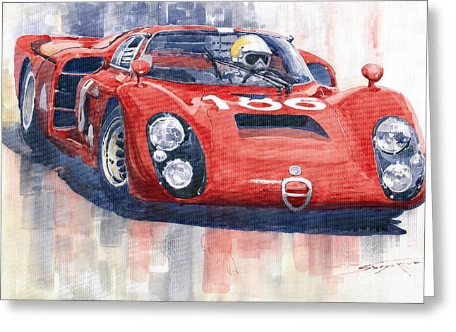 Racecars Greeting Cards - Alfa Romeo Tipo 33 2 Targa Floria 1968 Greeting Card by Yuriy  Shevchuk