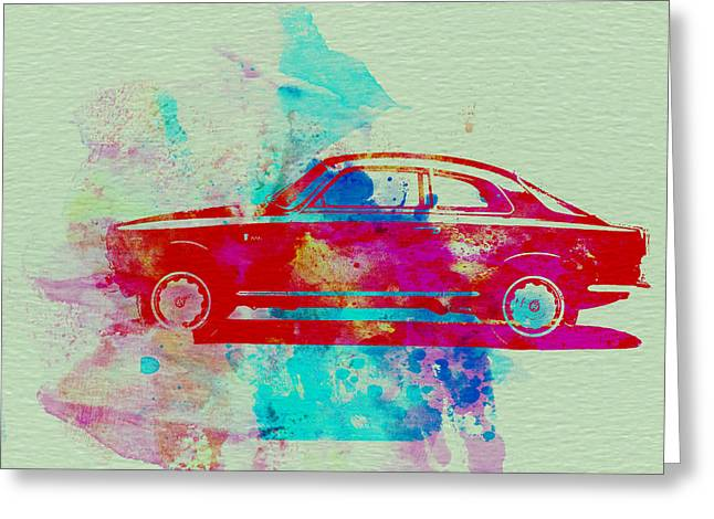Classic Drawings Greeting Cards - Alfa Romeo  Watercolor 2 Greeting Card by Naxart Studio