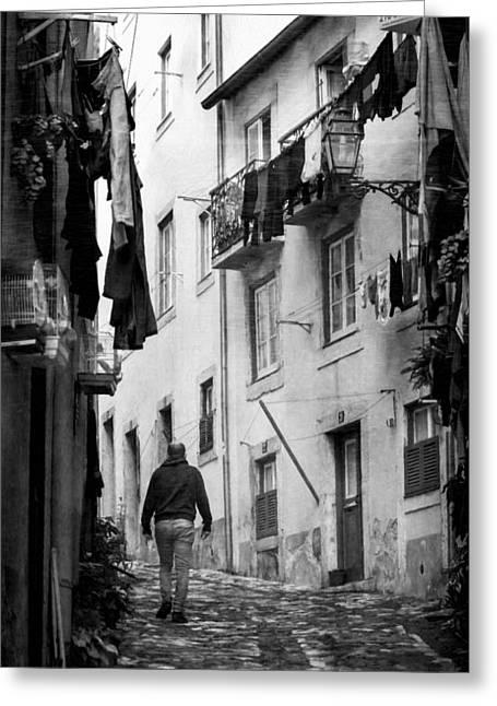 Greeting Cards - Alfama Life Lisbon Portugal BW Greeting Card by Joan Carroll