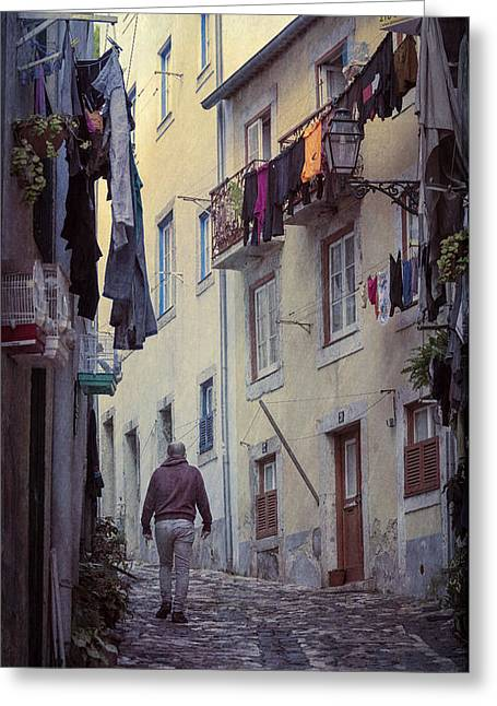 Greeting Cards - Alfama Life Lisbon Portugal Greeting Card by Joan Carroll