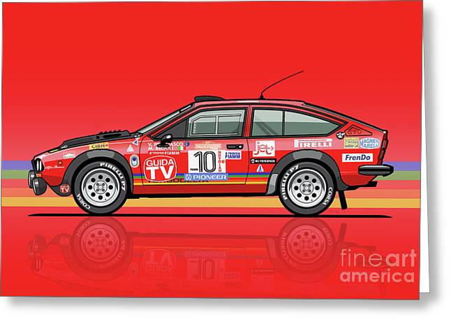 Alfetta Gtv Turbodelta Jolly Club Fia Group 4 1980 Sanremo Rallye Greeting Card by Monkey Crisis On Mars