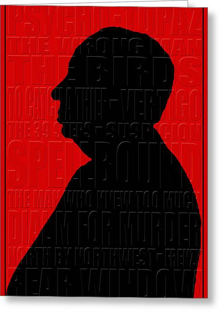 Alfred Hitchcock Greeting Card by Andrew Fare
