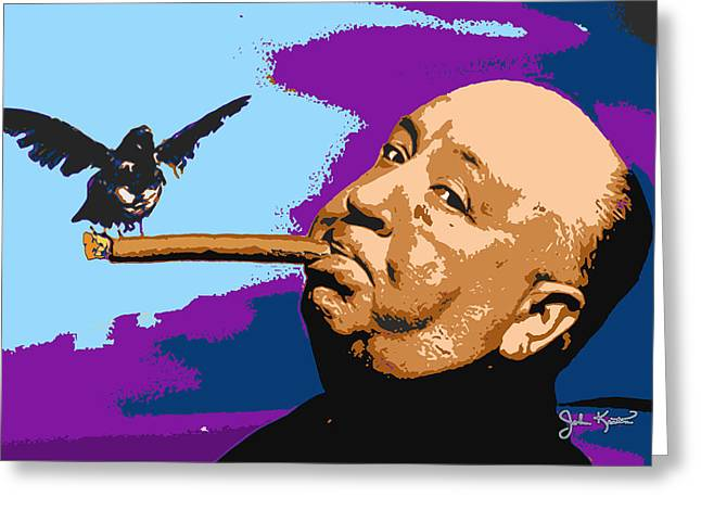 Alfred Hitchcock Greeting Card by John Keaton