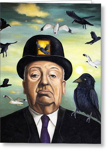 Horror Movies Greeting Cards - Alfred Hitchcock Greeting Card by Leah Saulnier The Painting Maniac