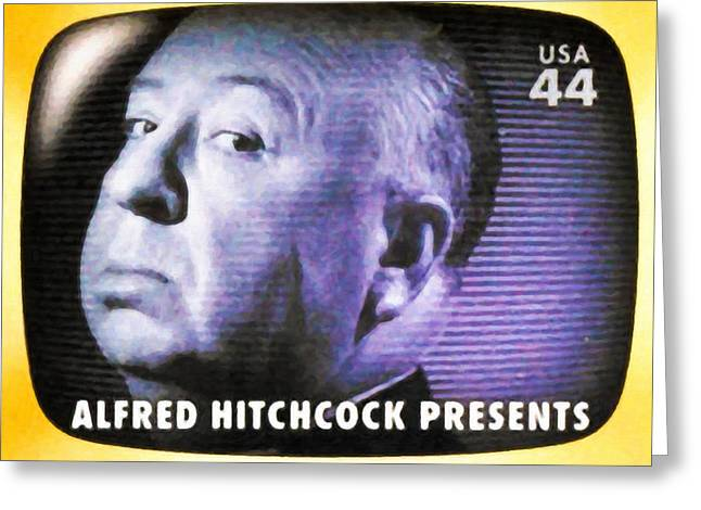 1950s Portraits Paintings Greeting Cards - Alfred Hitchcock Presents Greeting Card by Lanjee Chee
