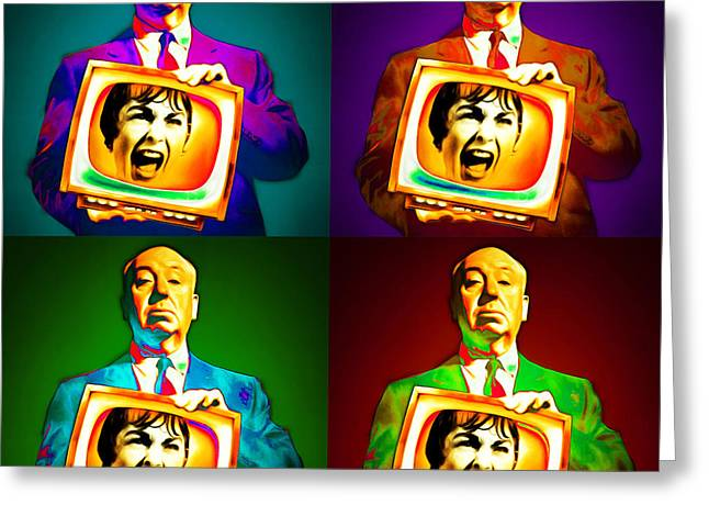 Alfred Hitchcock Psycho Four 20151218 Square Greeting Card by Wingsdomain Art and Photography