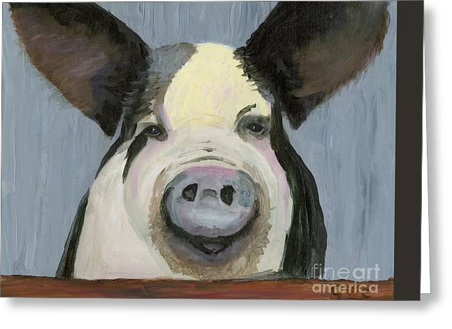 Piglets Greeting Cards - Alfred the Boar Greeting Card by Gloria Condon