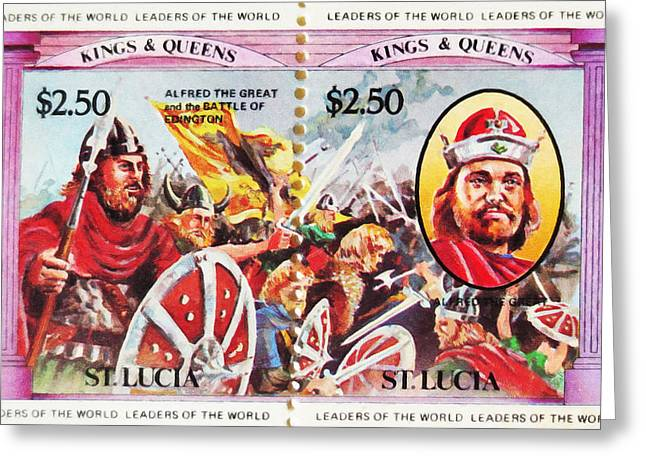 Football Collectibles Greeting Cards - Alfred The Great And The battle Of Edington Greeting Card by Lanjee Chee