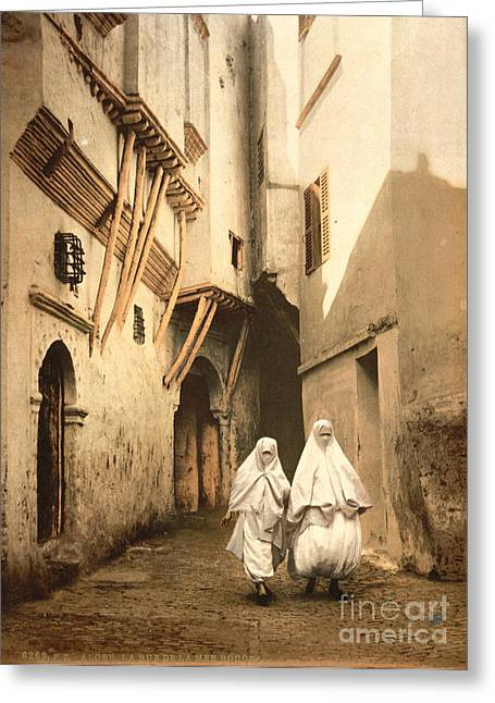 Burkas Greeting Cards - ALGERIA: STREET SCENE, c1899 Greeting Card by Granger