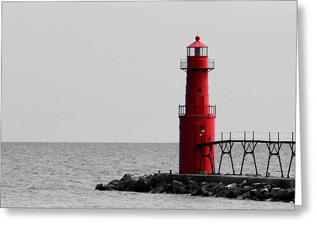 Algoma Lighthouse Bwc Greeting Card by Mark J Seefeldt