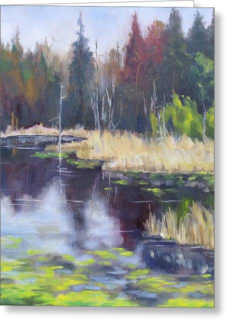 Algae Paintings Greeting Cards - Algonquin Marsh Greeting Card by Diane Daigle