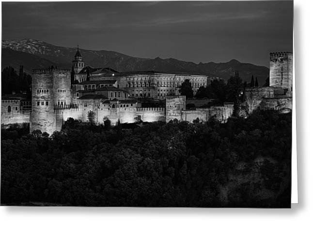 Snowy Night Greeting Cards - Alhambra Sunset BW Greeting Card by Joan Carroll