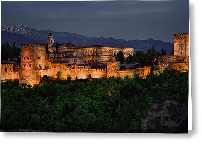 Snowy Night Greeting Cards - Alhambra Sunset Greeting Card by Joan Carroll
