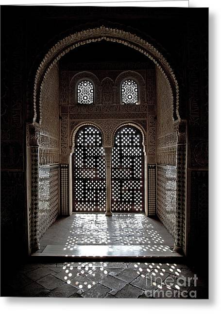 Shine Greeting Cards - Alhambra window Greeting Card by Jane Rix