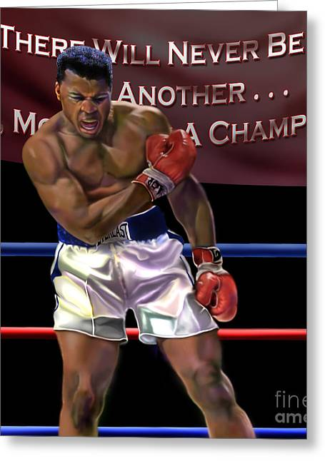 Greatest Of All Time Greeting Cards - Ali - More Than A Champion Greeting Card by Reggie Duffie