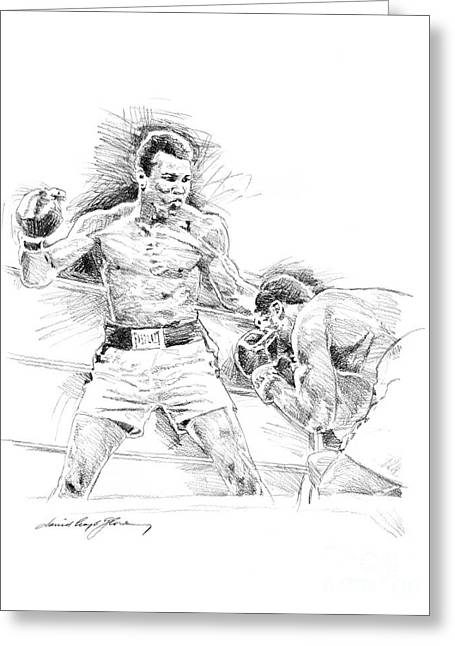 Championship Drawings Greeting Cards - Ali and Frazier Greeting Card by David Lloyd Glover