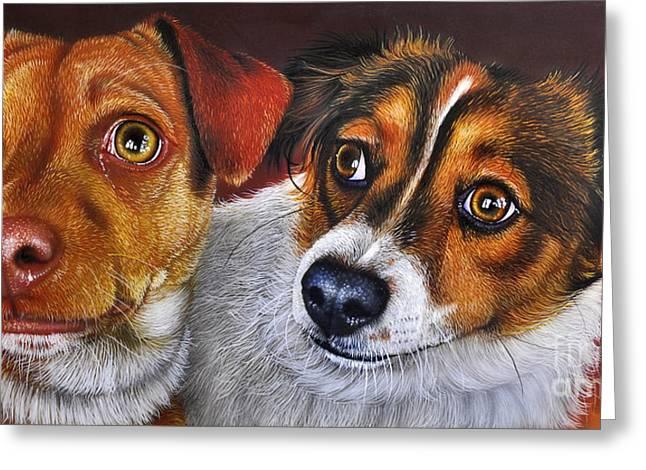 Puppies Paintings Greeting Cards - ALI and ILU Greeting Card by Jurek Zamoyski