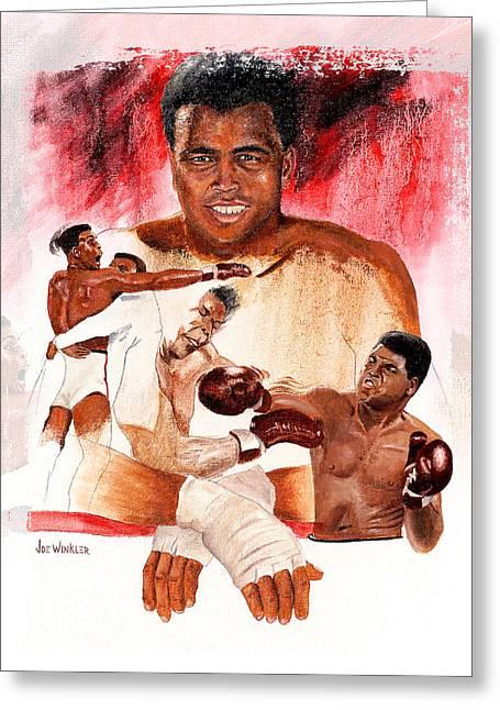 Sports Montage Greeting Cards - Ali Greeting Card by Joe Winkler