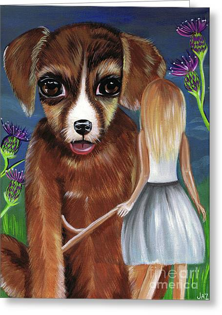 Alice And The Puppy Greeting Card by Jaz Higgins