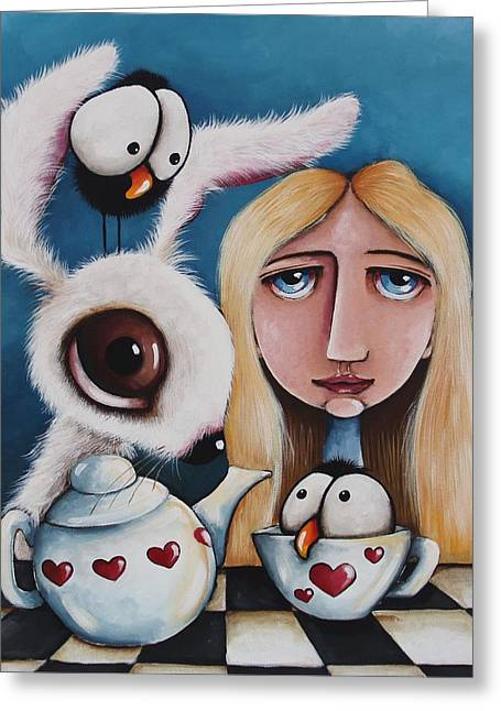 Rabbit In Cup Greeting Cards - Alice and the white rabbit Greeting Card by Lucia Stewart
