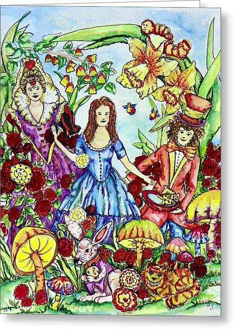 Mad Hatter Greeting Cards - Alice Greeting Card by Angela Angelilli- Mowery