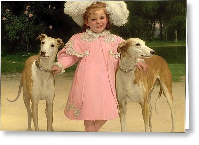 Greyhound Dog Greeting Cards - Alice Antoinette De La Mar About The Age Of 5 Greeting Card by Jan Van Beer