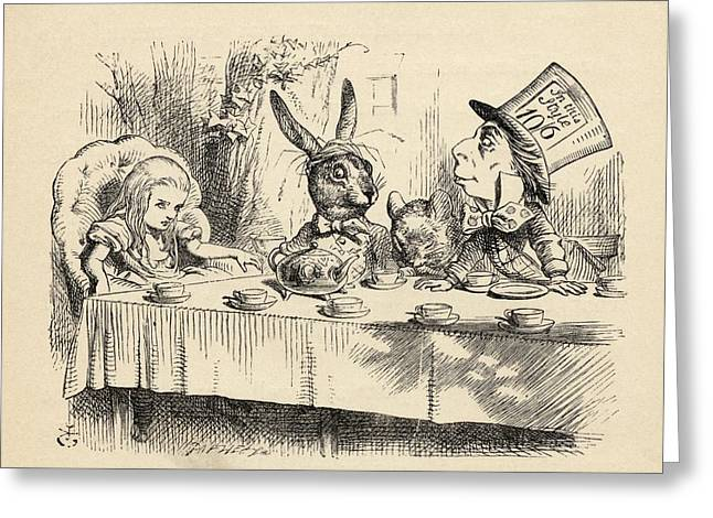 Alice At The Mad Hatter S Tea Party Greeting Card by Vintage Design Pics