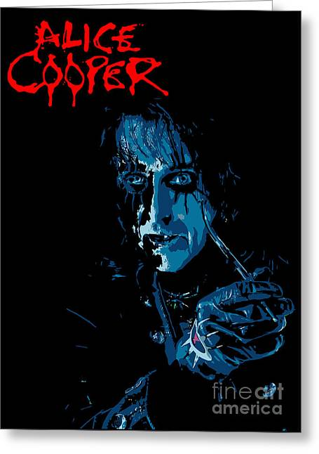 Famous Artist Greeting Cards - Alice Cooper Greeting Card by Caio Caldas