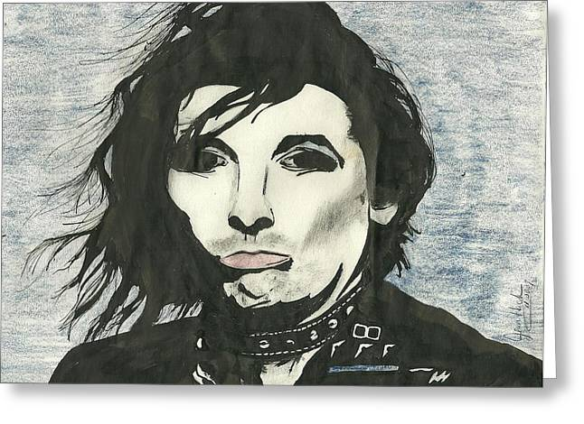 Famous Person Mixed Media Greeting Cards - Alice Cooper Greeting Card by Jeannie Hack