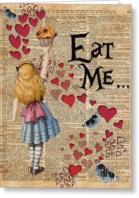 Alice In The Wonderland Eat Me Muffin  Greeting Card by Jacob Kuch