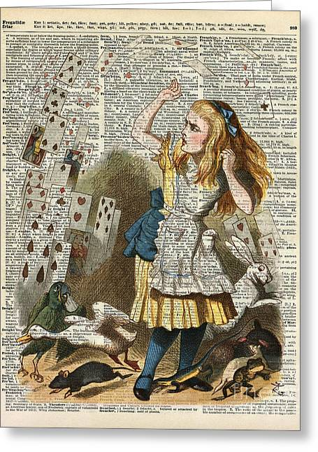 Crazy Drawings Greeting Cards - Alice in the wonderland on a vintage dictionary book page Greeting Card by Jacob Kuch