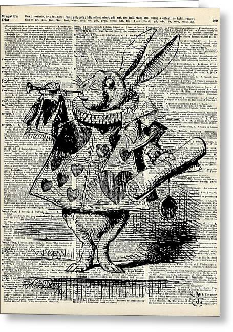 Scroll Drawings Greeting Cards - Alice in the wonderland The Whitte rabbit Greeting Card by Jacob Kuch