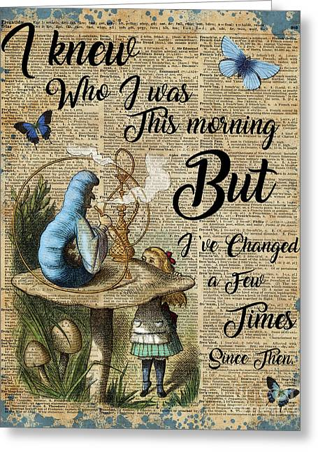 Alice In Wonderland Quote Vintage Dictionary Art Greeting Card by Jacob Kuch