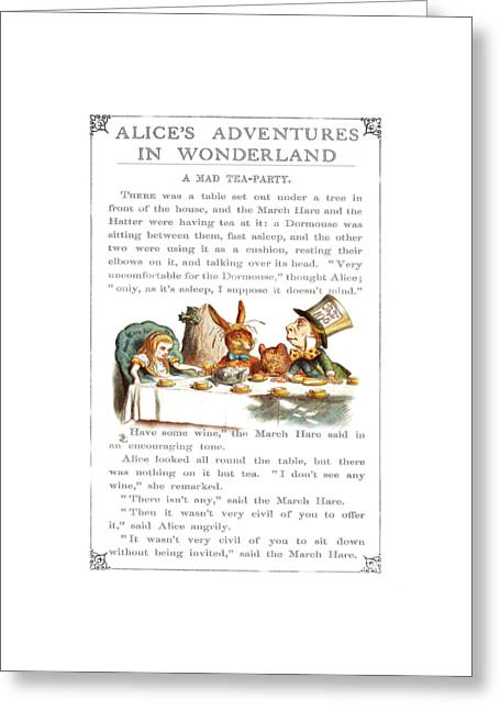 March Hare Mixed Media Greeting Cards - Alice in Wonderland Tea Party Greeting Card by Rik Romanis