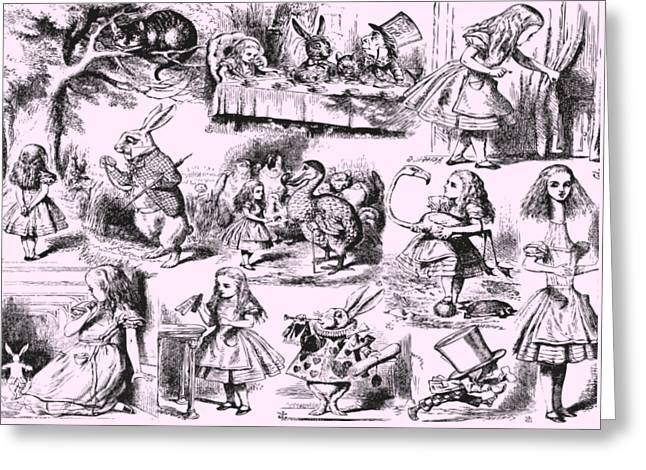 Alice In Wonderland Toile De Jouy Greeting Card by Eclectic at HeART