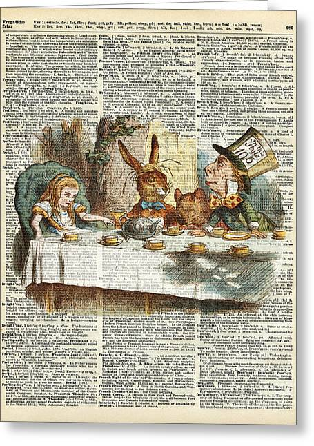 March Hare Greeting Cards - Alice Morning Tea time Greeting Card by Jacob Kuch