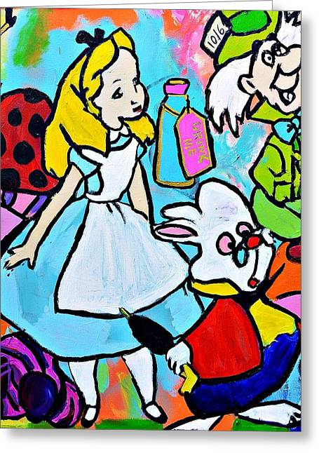 Mad Artist Greeting Cards - Alice  Greeting Card by Nicole Gavin