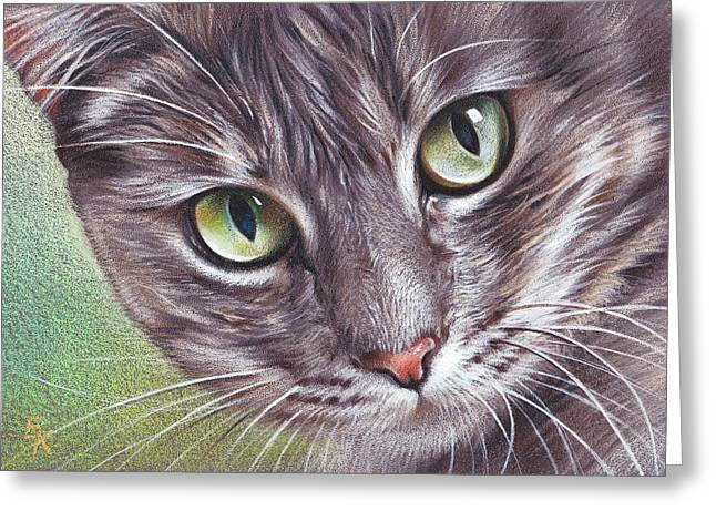 Cat Drawings Greeting Cards - Alice Greeting Card by Elena Kolotusha