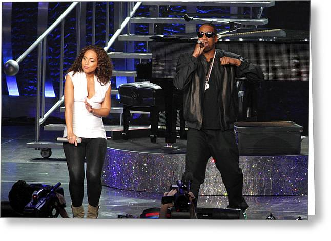 Live Music Greeting Cards - Alicia Keys With Jay-z Greeting Card by Steven Sachs