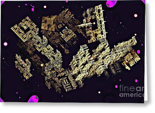 Office Space Digital Greeting Cards - Alien City Greeting Card by Sarah Loft